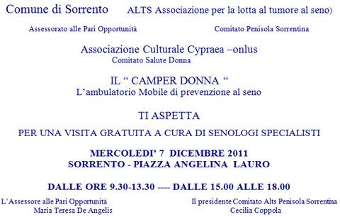 """7 dicembre. Il """"Camper Donna"""" a Piazza Lauro"""