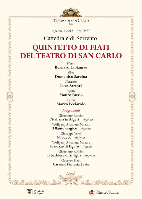 6 Gennaio. A Sorrento il concerto del Quintetto di fiati del Teatro di San Carlo
