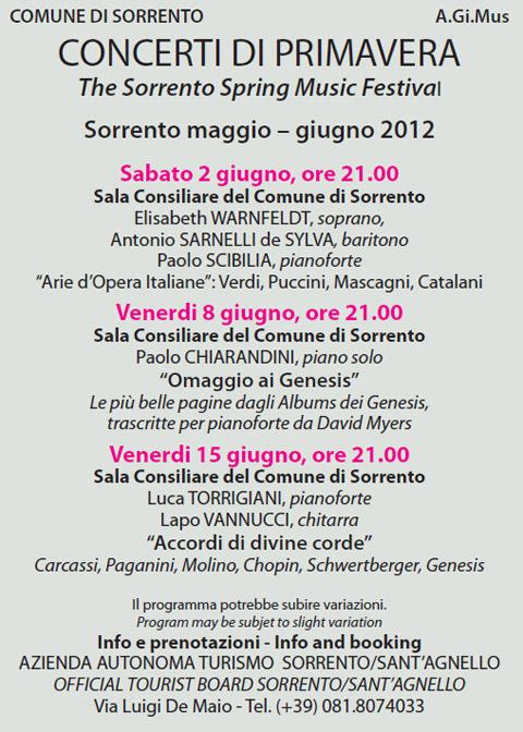 Concerti di Primavera: Programma Giugno l'edizione 2012