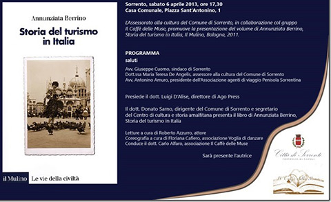 """Libri. """"Storia del turismo in Italia"""", presentazione a Sorrento"""